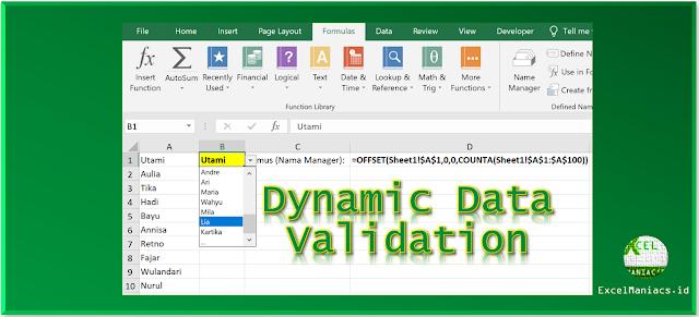 Cara Membuat Daftar Dinamis dengan Data Validasi Excel