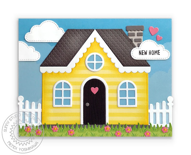 Sunny Studio Stamps New Home Card (using Gingerbread House, Scalloped Fence, Fluffy Cloud Dies & Spring Fling Paper)