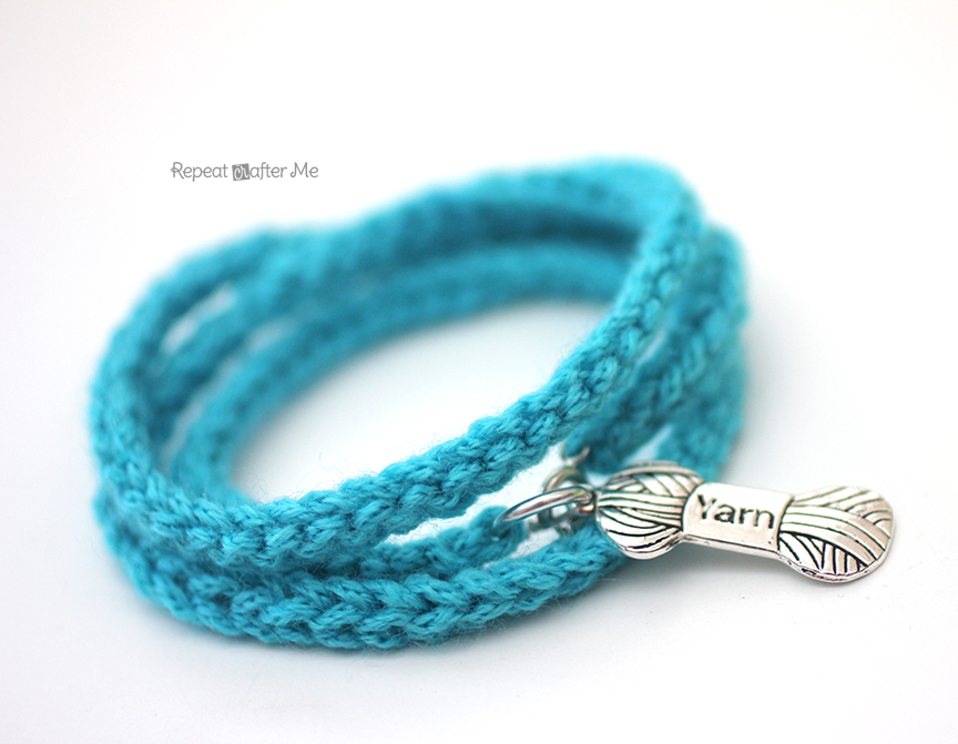 Crochet I Cord Bracelet With Yarn Charm Repeat Crafter Me
