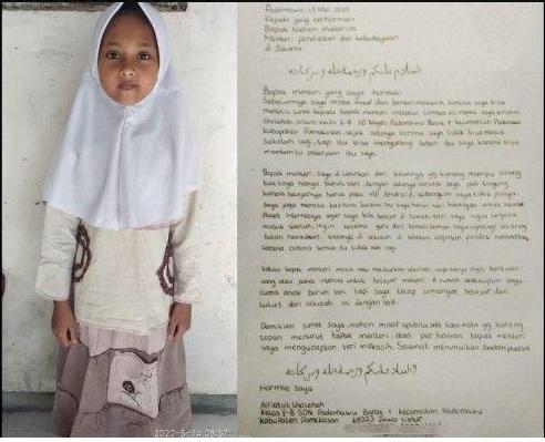 Curhat Alfiatus, Siswi SD Kelas 5 Kirim Surat ke Nadiem: Ibu Terpaksa Utang Demi Beli Paket Internet