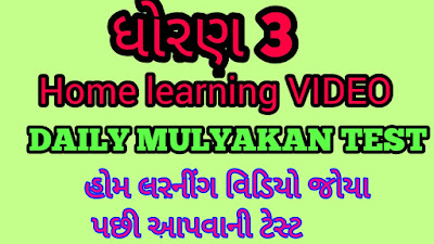 STD 3 HOME LEARNING DAILY MULYANKAN TEST