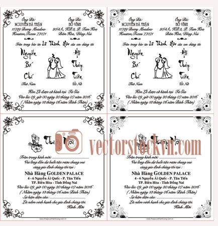 Vector Khung viền in thiệp cưới.