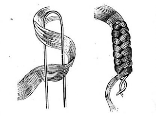 Wrapping hair around a U-shaped pin to simulate a braid. Peterson's, 1865.