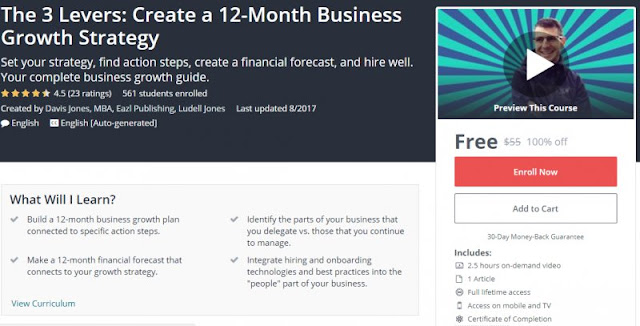 [100% Off] The 3 Levers: Create a 12-Month Business Growth Strategy| Worth 55$