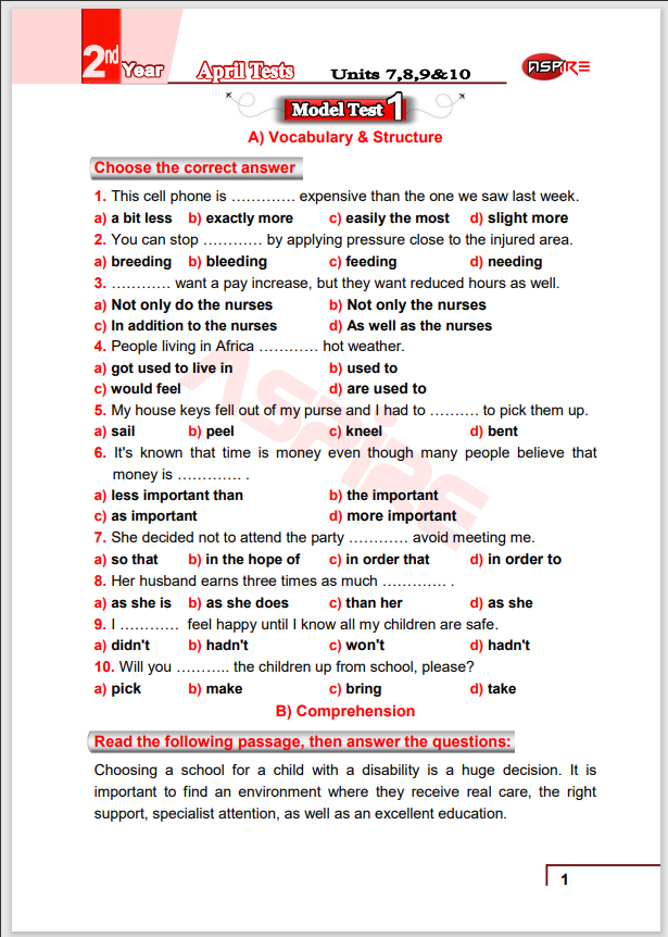 اقوى 4 إمتحانات انجليزى بالإجابات شهر ابريل على الوحدات (7-10) للصف الثانى الثانوى الترم الثانى 2021  إهداء Aspire