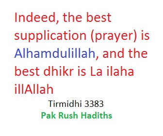The best dua is Alhamdulillah, and the best dhikr is la ialaha illAllah