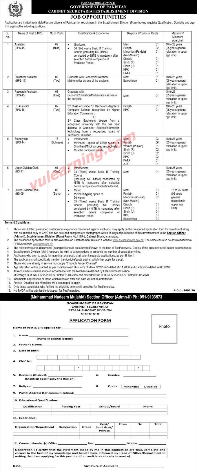 Cabinet Secretariat Establishment Division Jobs 2020
