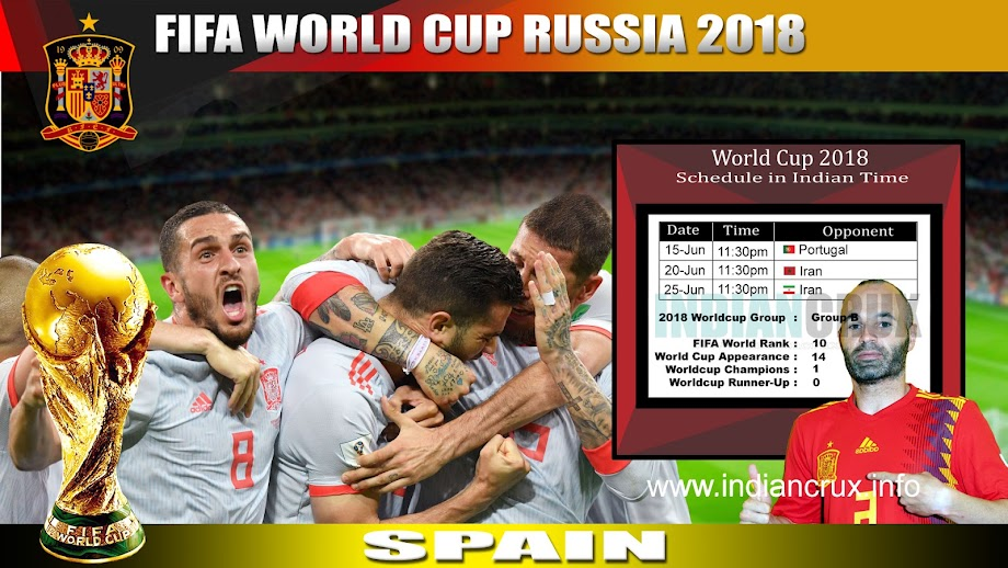 Downloadable Schedule of Team Spain at FIFA 2018 World Cup