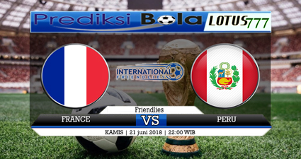 Pada 21 Juni 2018 mendatang akan diselenggarakan pertandingan Piala Dunia pada ke 2 antara Prancis Vs Peru pada pukul 22 : 00 WIB di Ekaterinburg Arena.