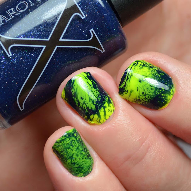 navy shimmer fluid art nail polish neon