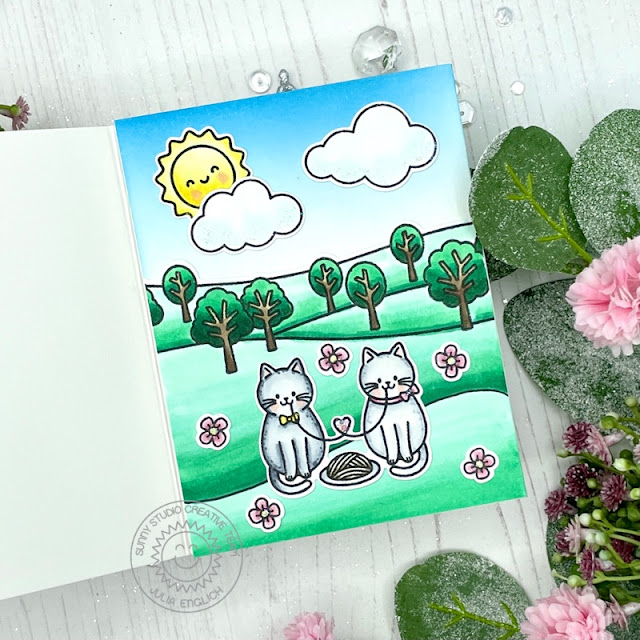 Sunny Studio Stamps: Meow & Furever Country Scenes Balloon Rides Everyday Card by Julia Englich