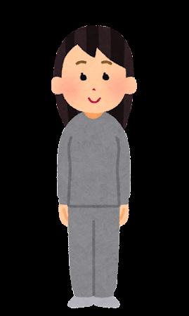 部屋着を着た人のイラスト(女性)
