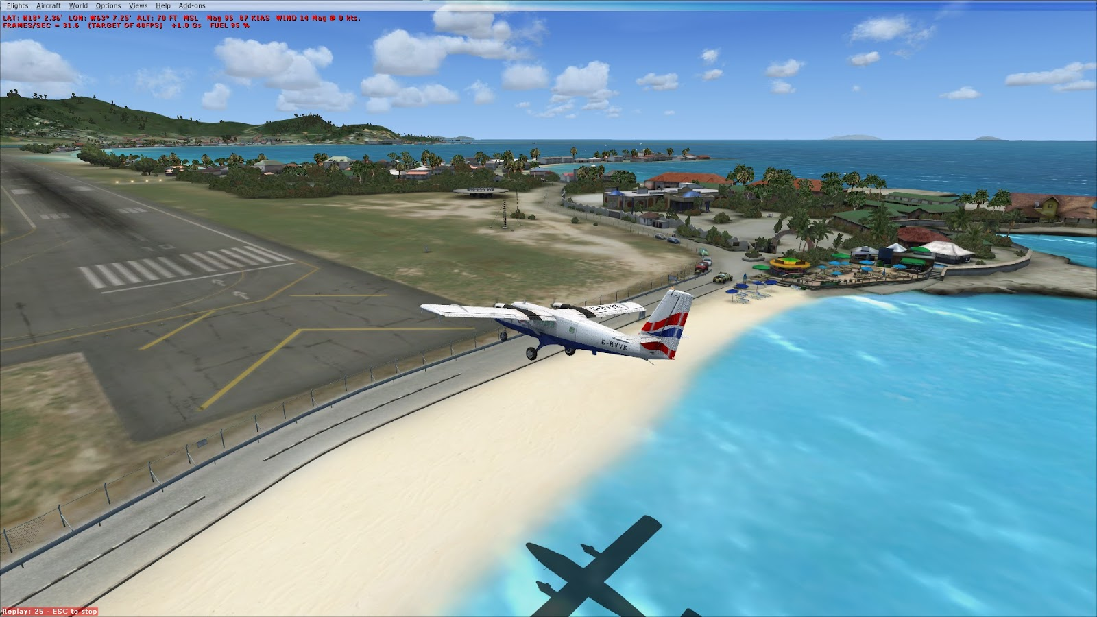 MS Flight Simulator X: Twin Otter approach to St Barts, TFFJ, FlyTampa