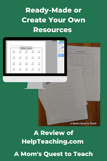 computer graphic with addition worksheet; multiple worksheets; text: Ready-Made or Create Your Own Resources: A Review of HelpTeaching.com