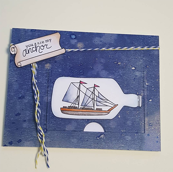 Fan Feature Week | Nautical card by Anna Tracy using Message in a Bottle stamp set by Newton's Nook Designs #newtonsnook #handmade