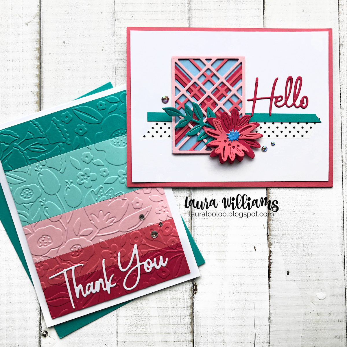 Cardmaking ideas with Spellbinders dies and embossing folders for thank you cards and all occasion cards with plaid, stripes, and florals.