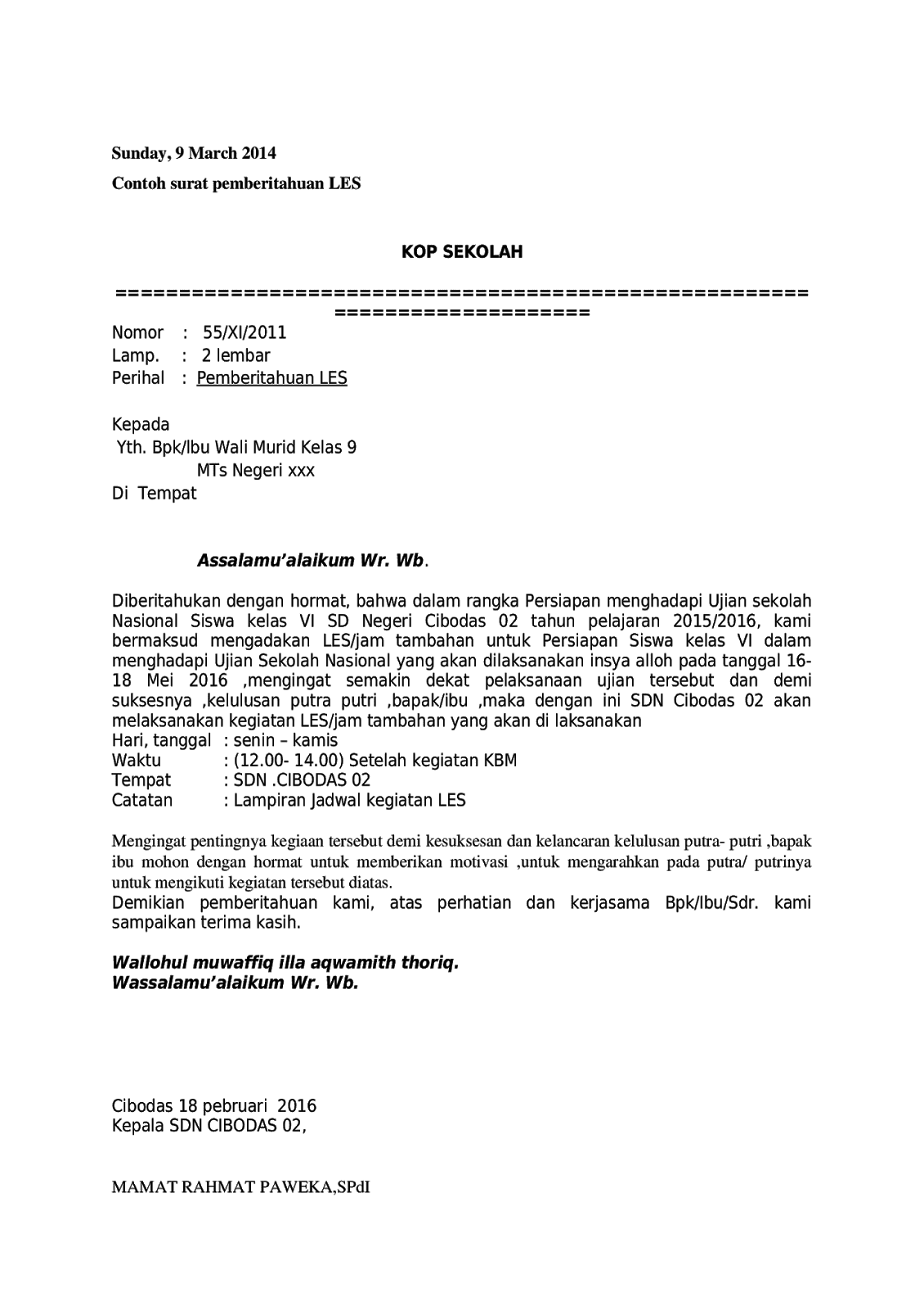 Contoh Surat Pemberitahuan Les Di Sekolah