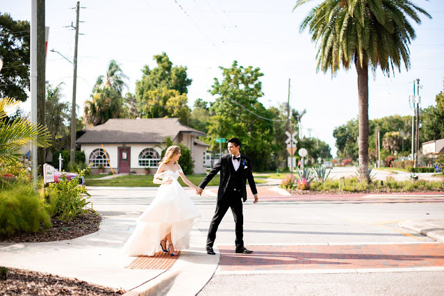 bride and groom walking outside in tavares florida