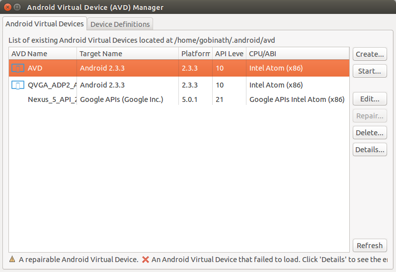 Create Android Virtual Device