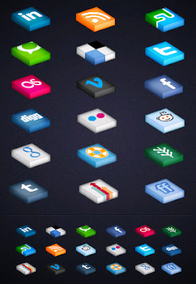 Isometric Shape Social Icons