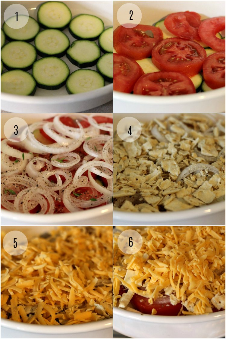 Step by Step tutorial of assembly for Zucchini Casserole by Renee's Kitchen Adventures with six images.
