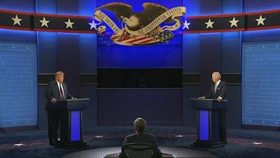 O republicano Donald Trump e o democrata Joe Biden durante primeiro debate presidencial nos EUA Reprodução/CNN (29.set.2020)