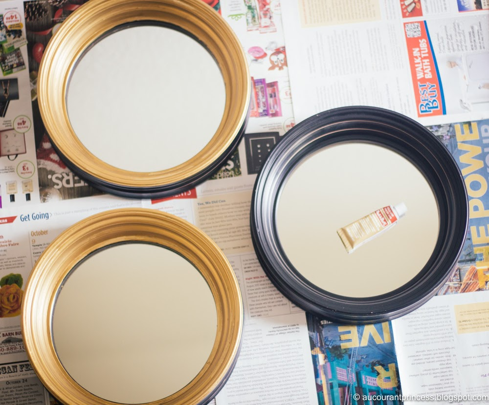 DIY: Rub 'n Buff Gold Leaf on Black Round Mirrors