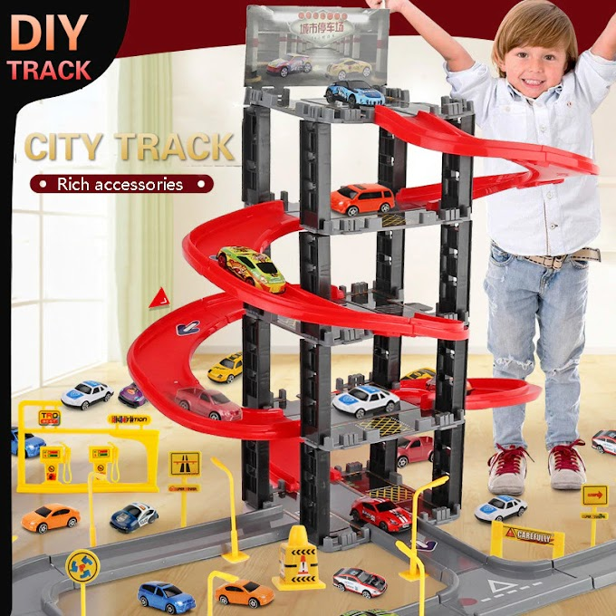 Children's Plastic Parking Toy Set Three-dimensional Multi-layer Car Assembly Rail Car Parent-child Interaction Gift Boy Toys