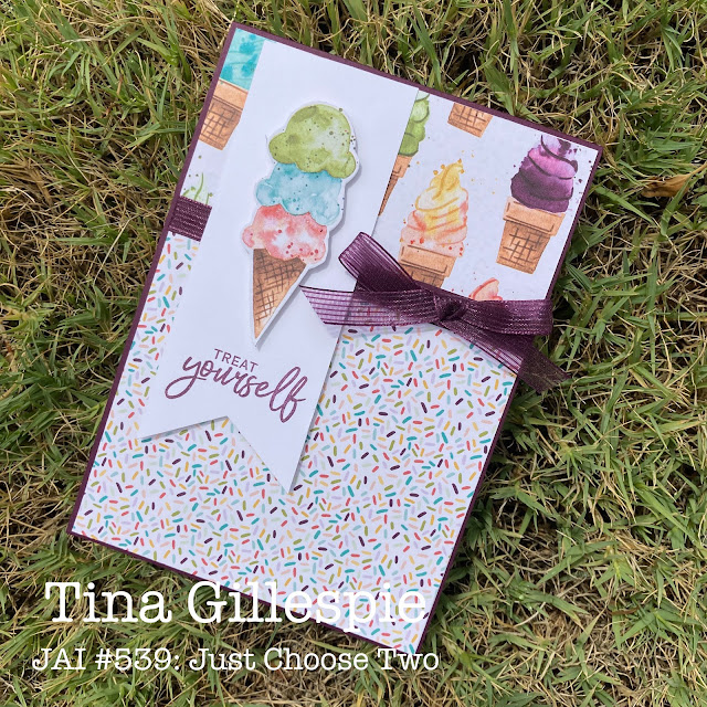 scissorspapercard, Stampin' Up!, Just Add Ink, Sweet Ice Cream, Ice Cream Corner DSP