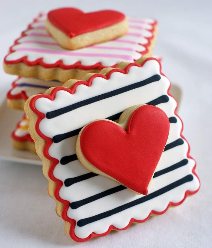 cute heart and stripe cookies for Valentine's Day