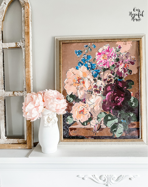 sunny day mantel flowers painting