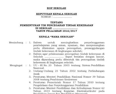 SK Tim Pencagahan Kekerasan di Sekolah