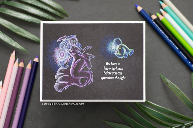 Sweet Sentiment Stamps, Coloring, Colored Pencils, Prismacolor Premiere Pencils, Anglerfish, Mermaid, Glowing coloring