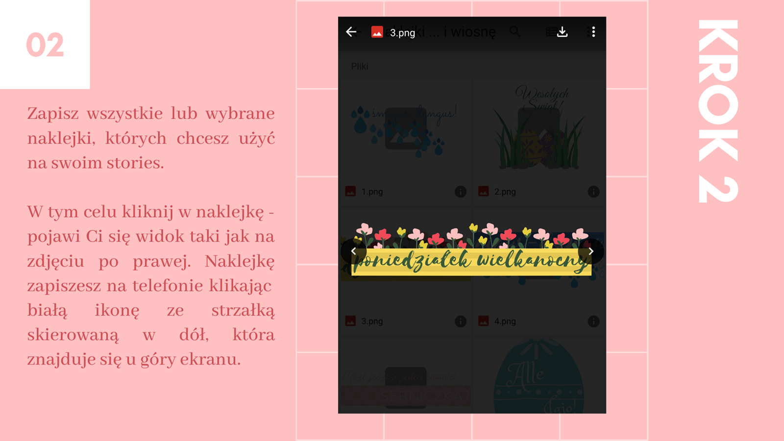 3 darmowe naklejki na instastories kwiaty wielkanoc jak zrobić swoją naklejkę na stories instagram jak wstawiać naklejki na instastory klawiatura swiftkey instrukcja krok po kroku