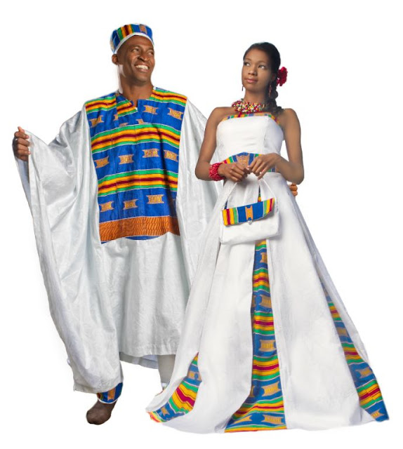 Kente wedding attire for bride and groom