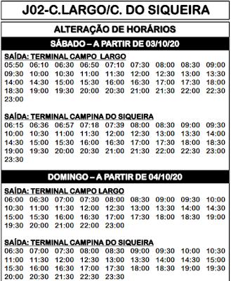 Horário de ônibus J02 CAMPO LARGO / CAMPINA SIQUEIRA 2021 | Campo Largo PR