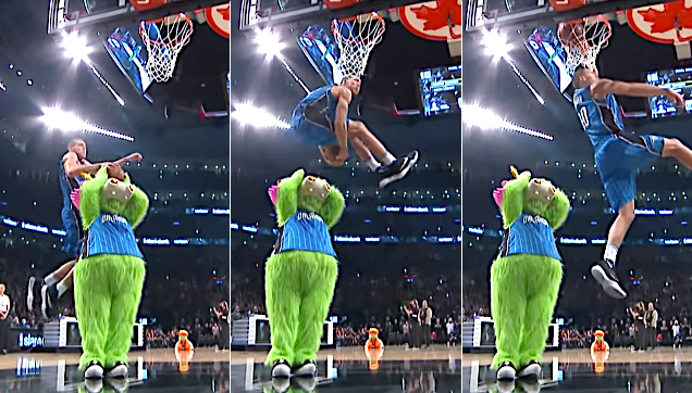 Aaron Gordon jumped over the mascot, grabbed the ball and dunked