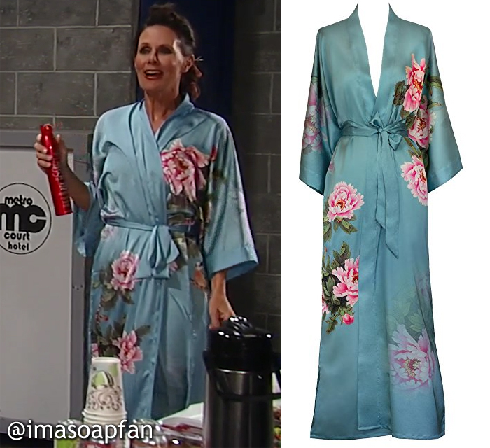 Lucy Coe, Lynn Herring, Blue and Pink Peony Print Robe, Old Shanghai, Nurses Ball, GH, General Hospital, Season 55, Episode 05/23/17