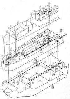 Схема расположения кабельных трасс в аксонометрической проекции по Ю. С. Путято и Е. А. Иванову