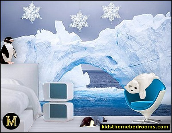 penguin bedrooms - polar bear bedrooms - arctic theme bedrooms - winter wonderland theme bedrooms - snow theme decorating ideas - penguin duvet covers - penguin bedding - Snow queen - winter wonderland party ideas - Alaska - White Christmas