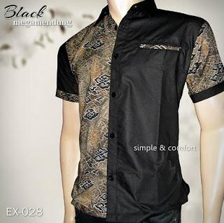 Gaya terbaru baju batik pria kombinasi