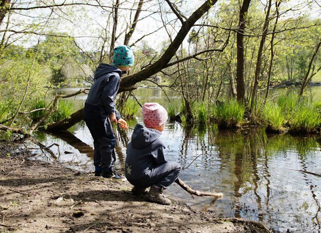 Küsten-Spaziergänge rund um Kiel, Teil 6: Der Rundweg um den Langsee. Beim Spaziergang pütschern die Kinder oft im See und spielen mit Stöcken.