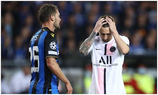 PSG forward Lionel Messi against Club Brugge