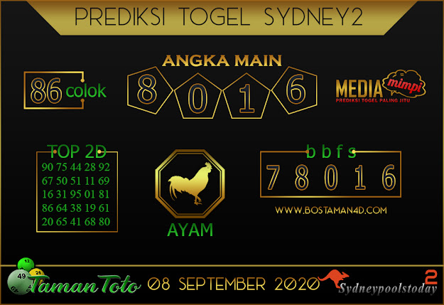 Prediksi Togel SYDNEY 2 TAMAN TOTO 08 SEPTEMBER 2020