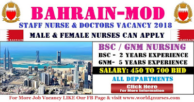 STAFF NURSE & DOCTORS VACANCY IN BAHRAIN MOD