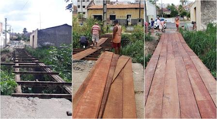 Secular 'Ponte de Tábua' no bairro Esplanada é restaurada; equipamento é principal acesso para UBS local