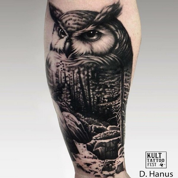 blackwork tattoo owl