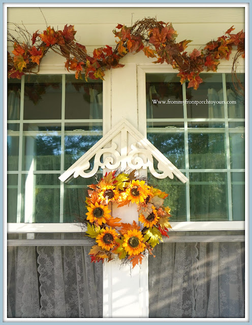 Farmhouse Cottage Style Fall Front Porch-Sunflower Wreath-From My Front Porch To Yours