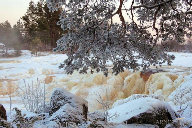 Hourunkoski, Pyhäjoki, talvi, jäätynyt, -27C