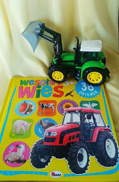 wesoła wieś, ksiązka dla dzieci, zabawa i nauka, traktor